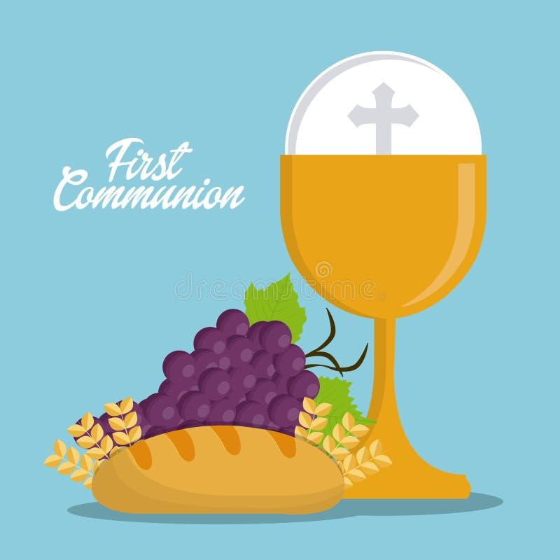Pictogram van de de druiven het gouden godsdienst van het kopbrood Grafische vector vector illustratie
