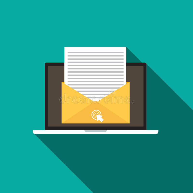 Pictogram van de e-mail Marketing concepten het vlakke stijl met lange schaduw vector illustratie