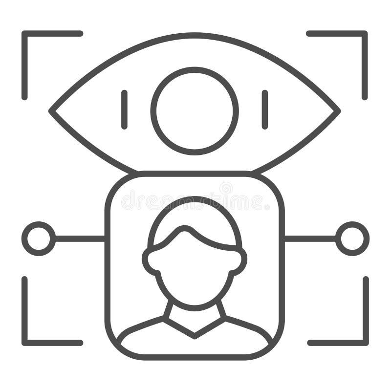 Pictogram van de de erkennings het dunne lijn van de persoonsretina De identificatie vectordieillustratie van het gebruikersoog o vector illustratie
