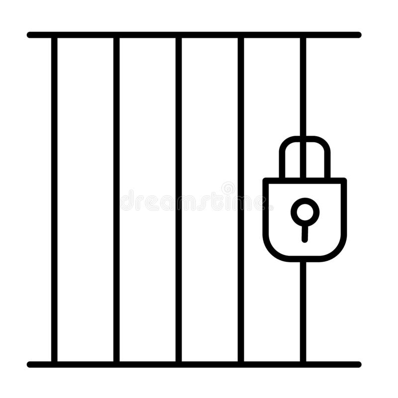 Pictogram van de gevangenis het dunne lijn Gevangenisillustratie op wit wordt geïsoleerd dat De stijlontwerp van het celoverzicht stock illustratie