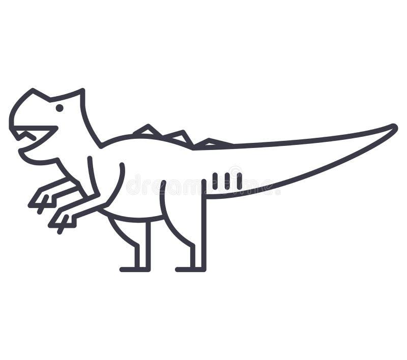 Pictogram van de Giganotosaurus het vectorlijn, teken, illustratie op achtergrond, editable slagen vector illustratie