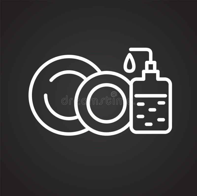 Pictogram van de glaswerk het schoonmakende lijn op zwarte achtergrond voor grafisch en Webontwerp, Modern eenvoudig vectorteken  vector illustratie