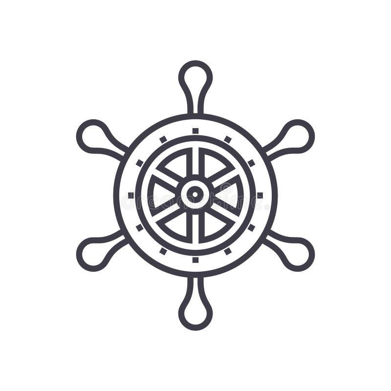 Pictogram van de handwiel het vectorlijn, teken, illustratie op achtergrond, editable slagen royalty-vrije illustratie