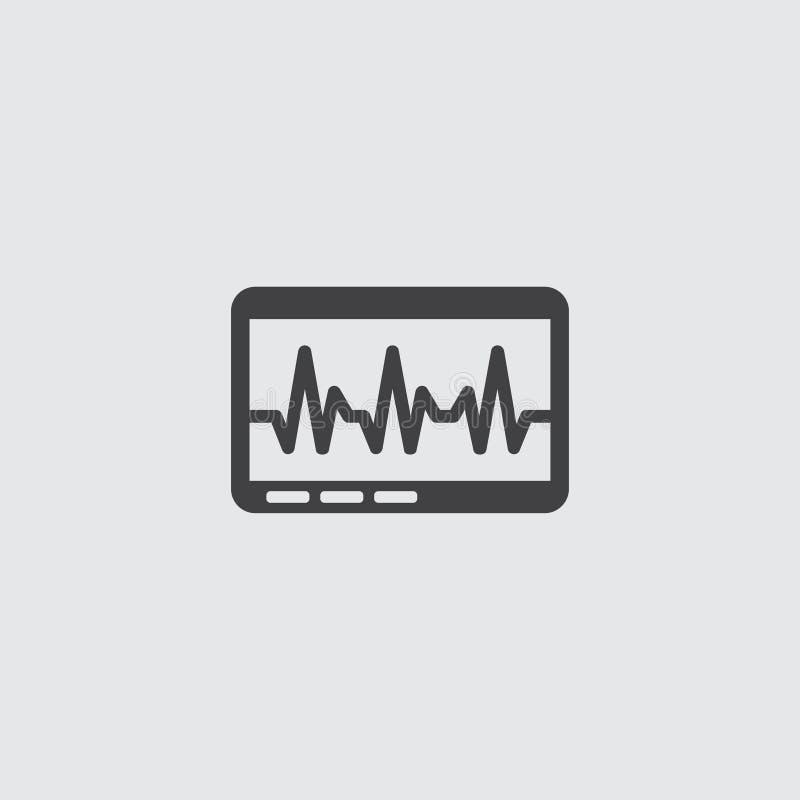 Pictogram van de hart het cardiomonitor in een vlak ontwerp in zwarte kleur Vector illustratie EPS10 royalty-vrije illustratie