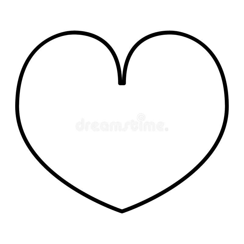 Pictogram van de hart het dunne lijn Liefde vectordieillustratie op wit wordt geïsoleerd Valentine-het ontwerp van de overzichtss stock illustratie