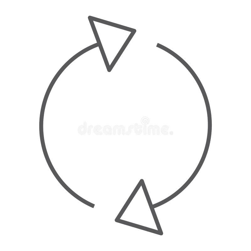 Pictogram van de herladen verfrissen het dunne lijn, de omwenteling en de rotatie, pijl teken, vectorafbeeldingen, een lineair pa stock illustratie