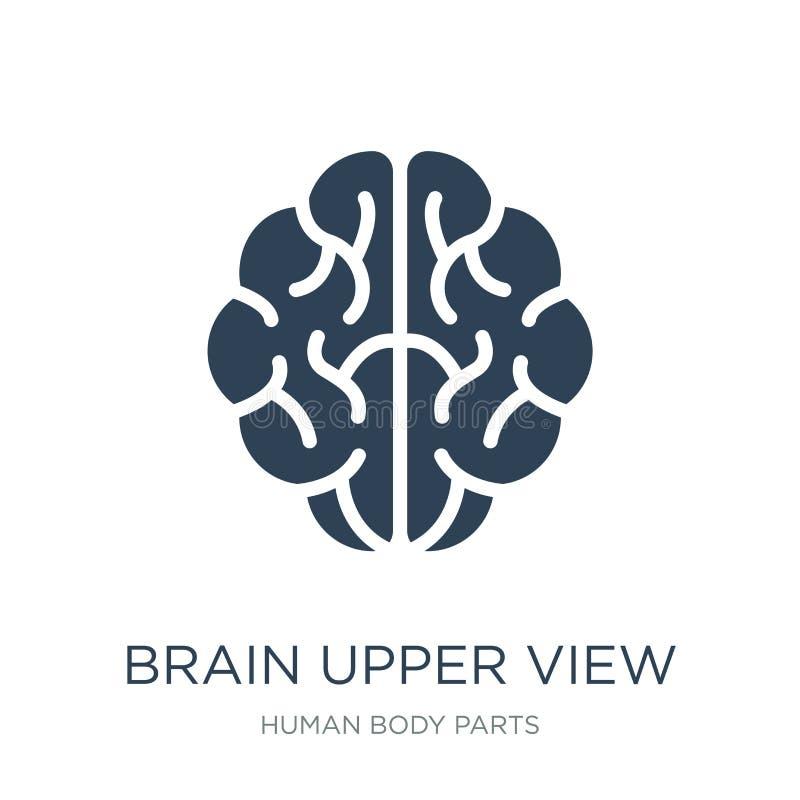 pictogram van de hersenen het hogere mening in in ontwerpstijl pictogram van de hersenen het hogere die mening op witte achtergro royalty-vrije illustratie