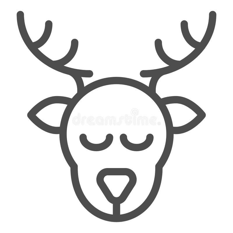 Pictogram van de herten het hoofdlijn De vectordieillustratie van Kerstmisherten op wit wordt geïsoleerd De stijlontwerp van het  vector illustratie