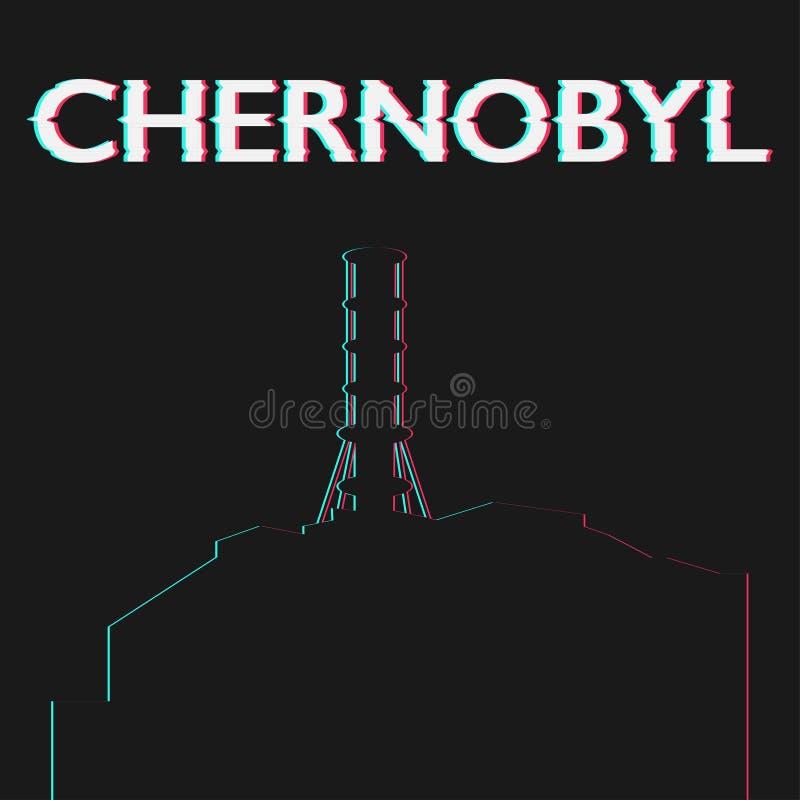Pictogram van de het atoom elektrische post van Tchernobyl het kern vector illustratie