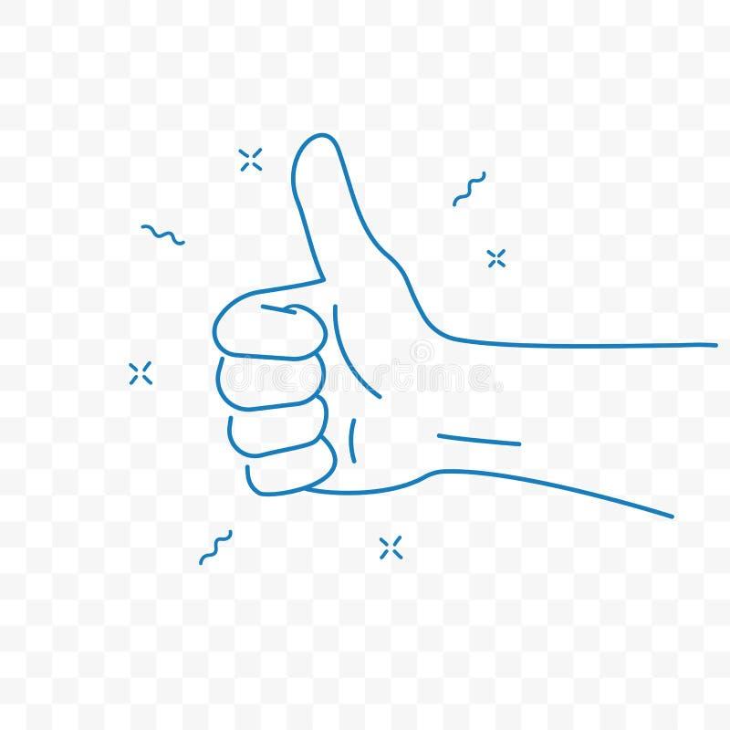 Pictogram van de het gebaar vectorkrabbel van de duim het omhoog beste hand vector illustratie
