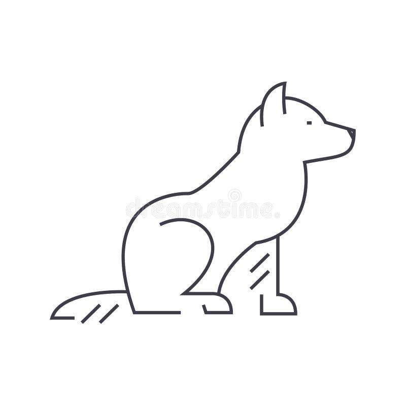 Pictogram van de hond het vectorlijn, teken, illustratie op achtergrond, editable slagen royalty-vrije illustratie