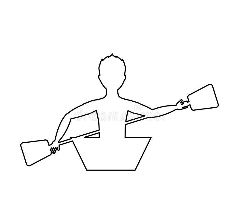pictogram van de kajak het extreme sport stock illustratie