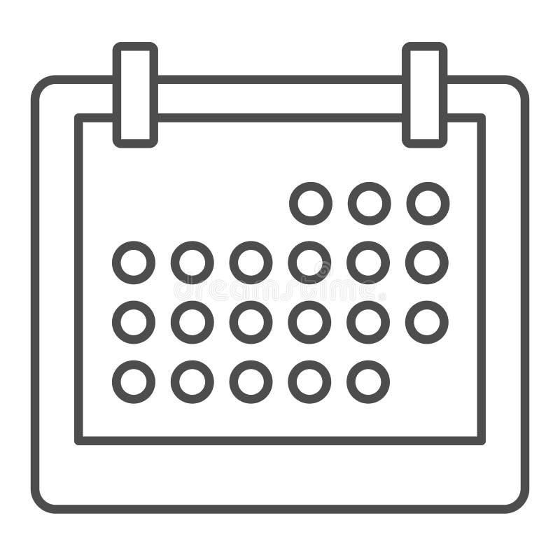 Pictogram van de kalender het dunne lijn E De stijlontwerp van het herinneringsoverzicht, voor Web wordt ontworpen dat vector illustratie