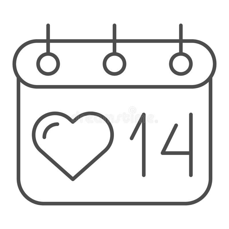 Pictogram van de de kalender het dunne lijn van de valentijnskaartendag 14 de vectordieillustratie van februari op wit wordt geïs vector illustratie