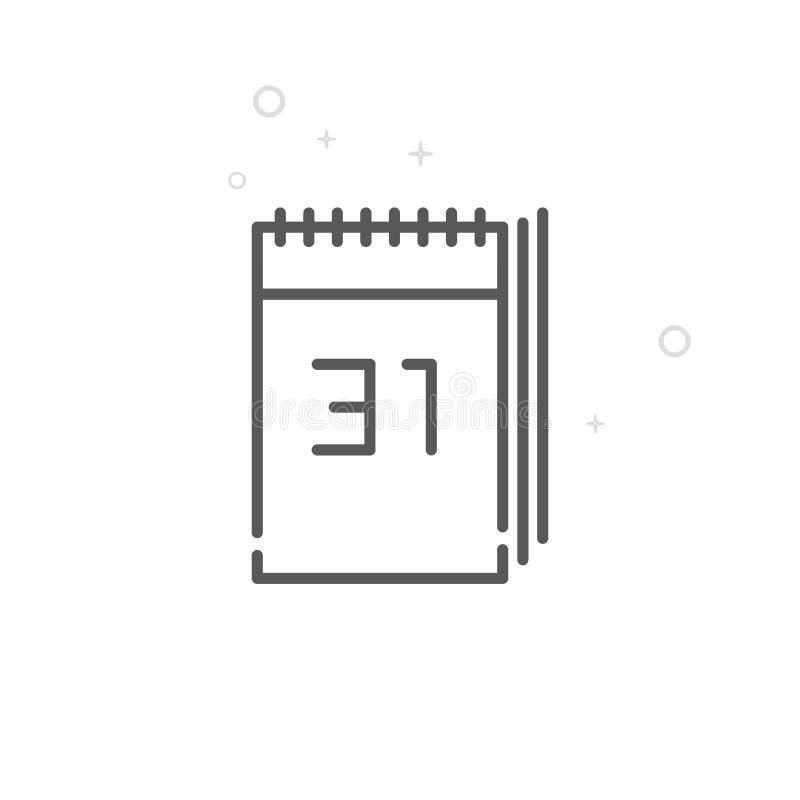 Pictogram van de de Kalender het Vectorlijn van het nieuwjaar, Symbool, Pictogram, Teken Lichte abstracte geometrische achtergron royalty-vrije illustratie