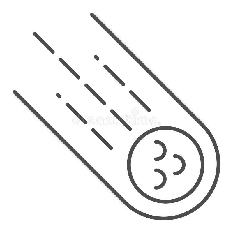 Pictogram van de komeet het dunne lijn Meteoriet vectordieillustratie op wit wordt geïsoleerd Het stervormige die ontwerp van de  stock illustratie