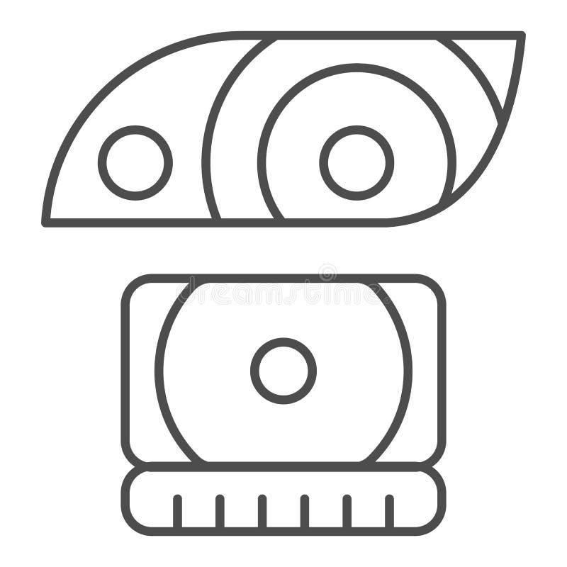 Pictogram van de koplamp het dunne lijn E De stijlontwerp van het auto licht die overzicht, voor Web wordt ontworpen royalty-vrije illustratie