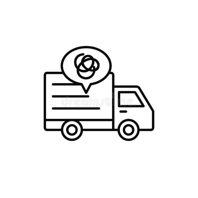 Pictogram van de leverings het vrachtwagen ingewikkelde lijn de verzendingsauto misleidde en krijgt verloren illustratie het eenv vector illustratie