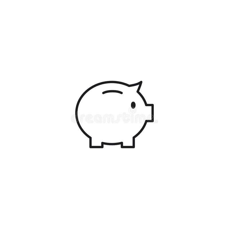 Pictogram van de lijn het piggy spaarpot op witte achtergrond vector illustratie