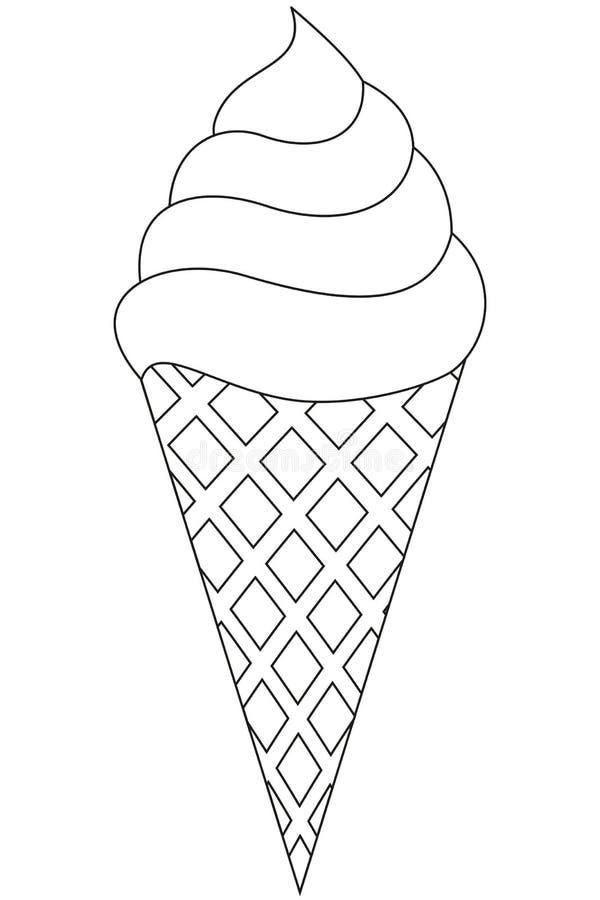 Pictogram van de de lijnkunst van de roomijskegel het zwart-witte stock illustratie