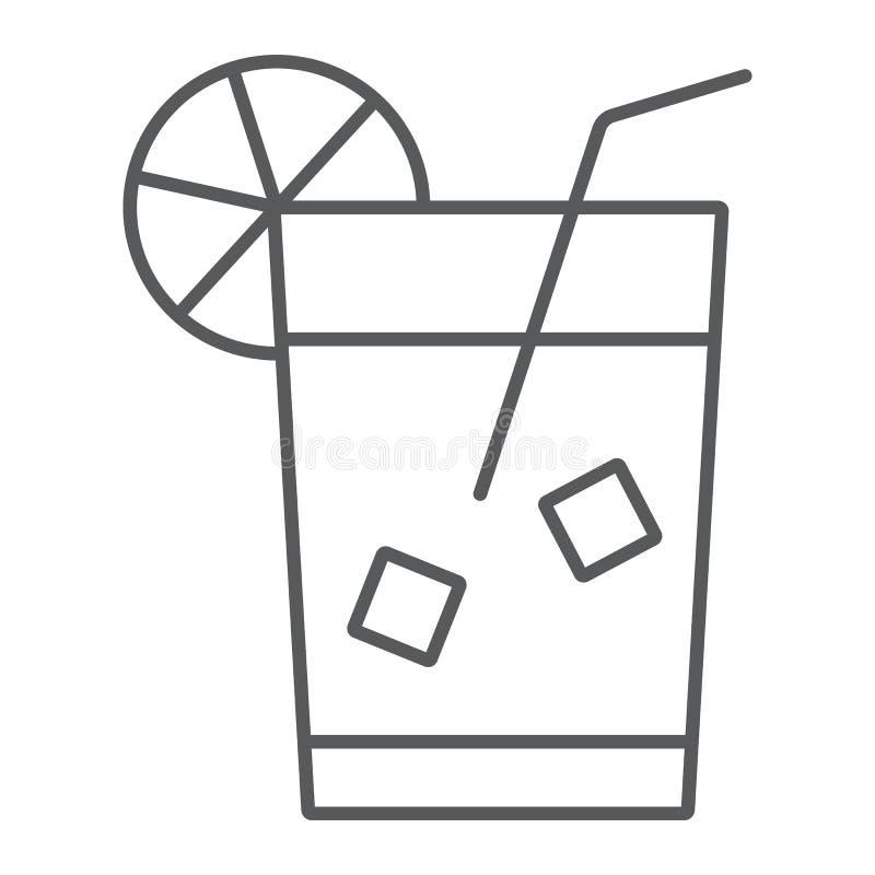 Pictogram van de limonade het dunne lijn, drank en drank, sapteken, vectorgrafiek, een lineair patroon op een witte achtergrond stock illustratie