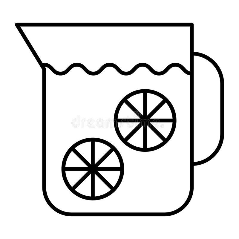 Pictogram van de limonade het dunne lijn Waterkruik limonade vectordieillustratie op wit wordt geïsoleerd Het de stijlontwerp van vector illustratie