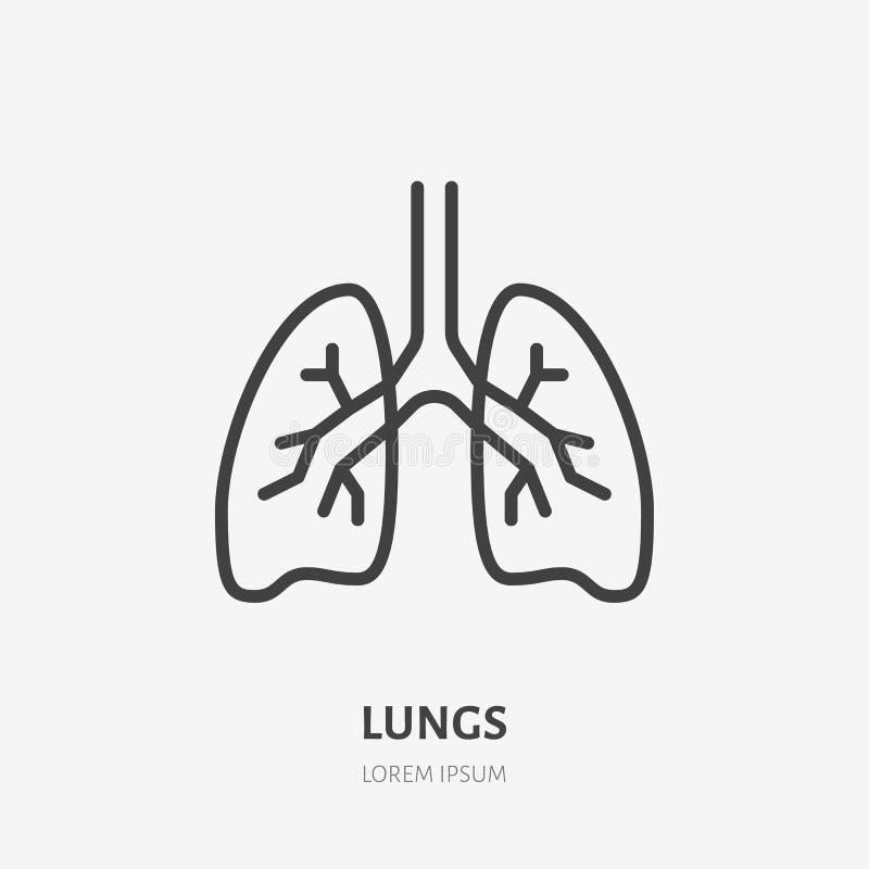 Pictogram van de longen het vlakke lijn Vector dun pictogram van menselijk intern orgaan, overzichtsillustratie voor longkliniek vector illustratie