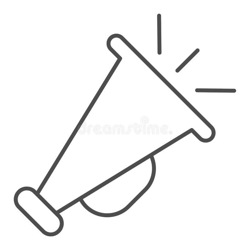 Pictogram van de megafoon het dunne lijn Adverterend vectorillustratie die op wit wordt ge?soleerd Het de stijlontwerp van het aa vector illustratie
