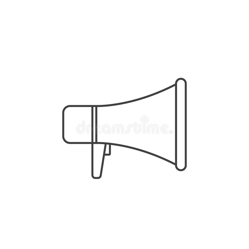 Pictogram van de megafoon het dunne lijn, het vectorembleem van het megafoonoverzicht illustrat stock illustratie