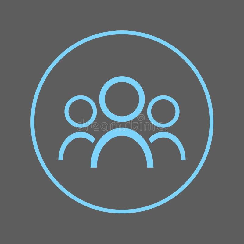 Pictogram van de mensen het cirkellijn Groep om kleurrijk teken Vectorsymbool van de team het vlakke stijl royalty-vrije illustratie