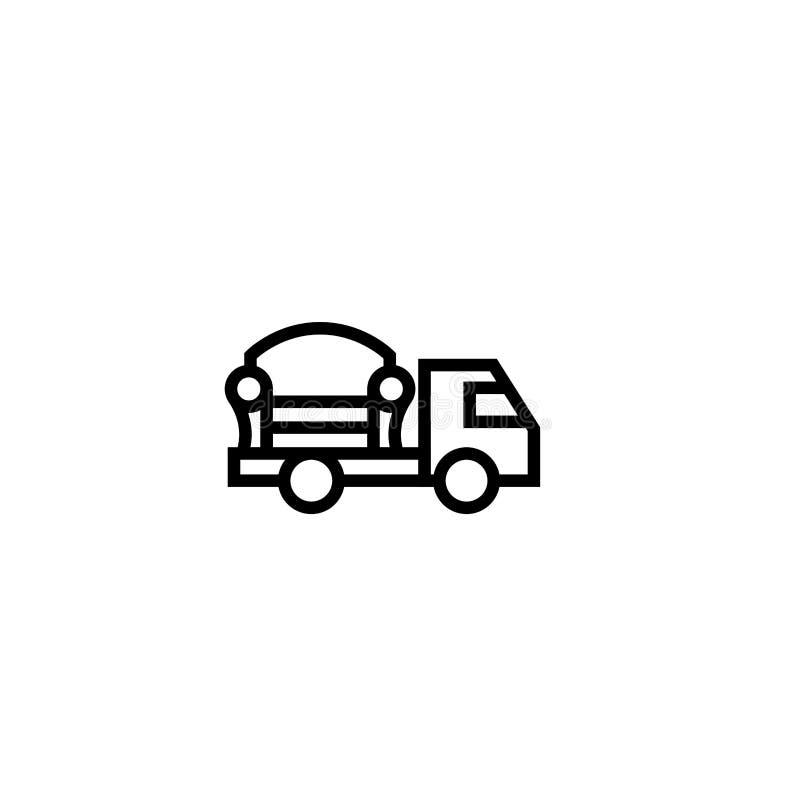 Pictogram van de meubilair het verschepende vrachtwagen binnenshuis objecten leveringsconcept het eenvoudige schone dunne ontwerp stock illustratie
