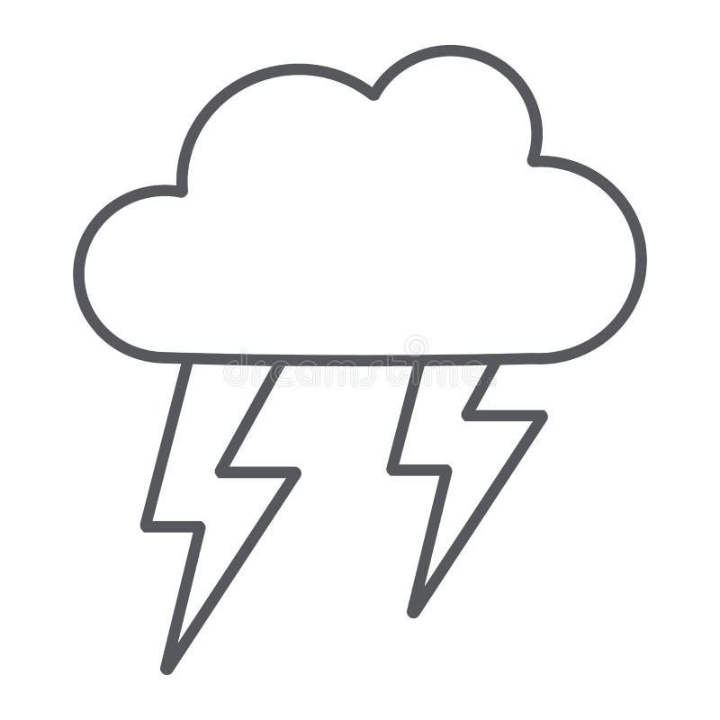 Pictogram van de onweersbui het dunne lijn, weer en voorspelling, onweersteken, vectorafbeeldingen, een lineair patroon op een wi vector illustratie