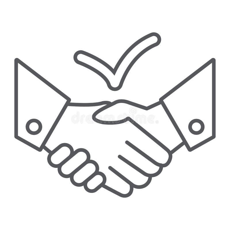 Pictogram van de overeenkomsten het dunne lijn, overeenkomst en vennootschap, handdrukteken, vectorafbeeldingen, een lineair patr royalty-vrije illustratie