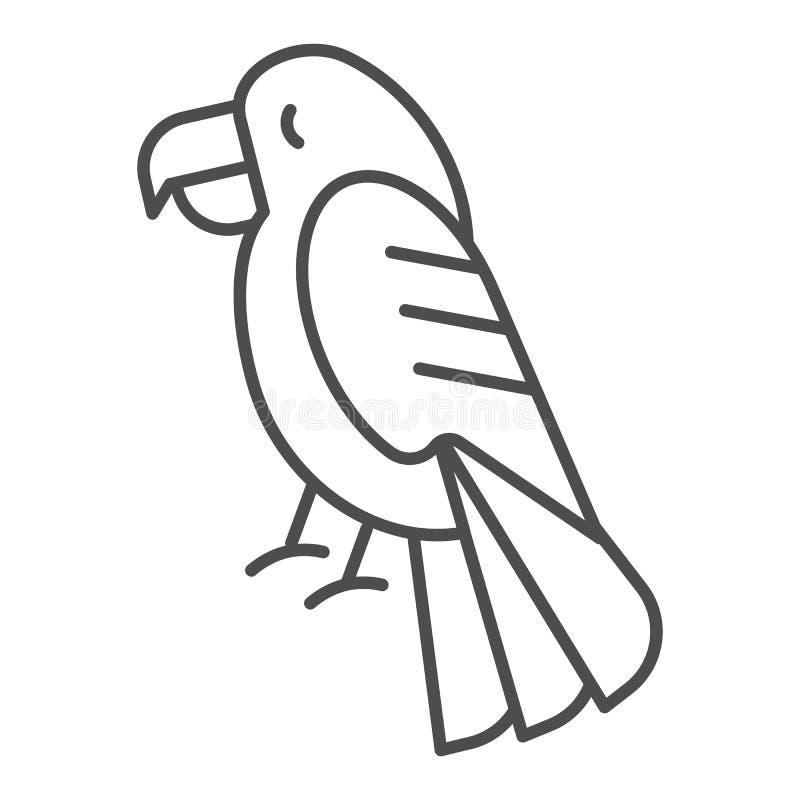 Pictogram van de papegaai het dunne lijn Vogel vectordieillustratie op wit wordt geïsoleerd Het dierlijke die ontwerp van de over royalty-vrije illustratie
