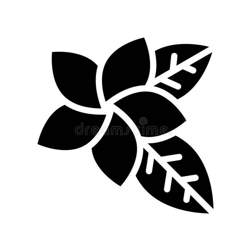 Pictogram van de Plumeria het vector, tropische verwante stevige stijl vector illustratie