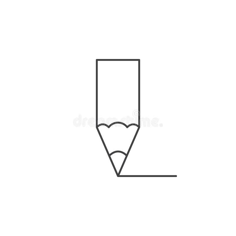Pictogram van de potlood geeft het dunne lijn, illustratie van het overzichts de vectorembleem, pi uit royalty-vrije illustratie