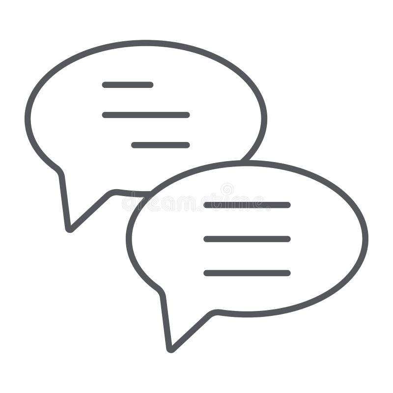 Pictogram van de praatje ondertekenen het dunne lijn, het bericht en de mededeling, toespraakbellen, vectorafbeeldingen, een line vector illustratie
