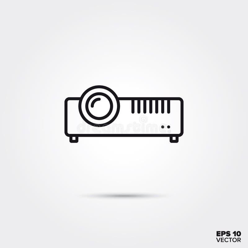 Pictogram van de projector het vectorlijn van verschillende media royalty-vrije illustratie