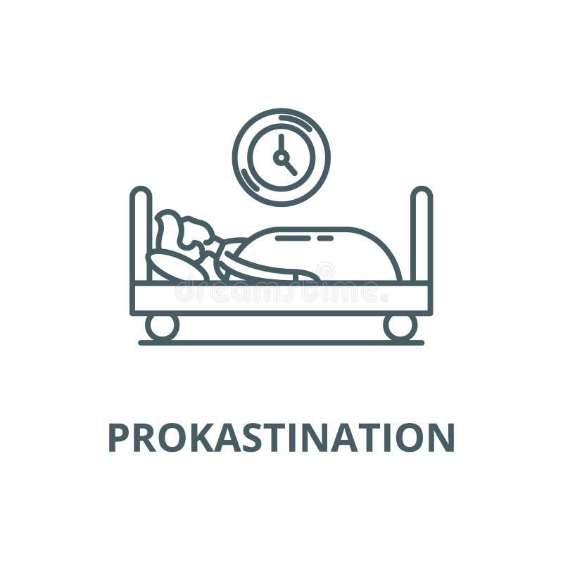 Pictogram van de Prokastination het vectorlijn, lineair concept, overzichtsteken, symbool stock illustratie