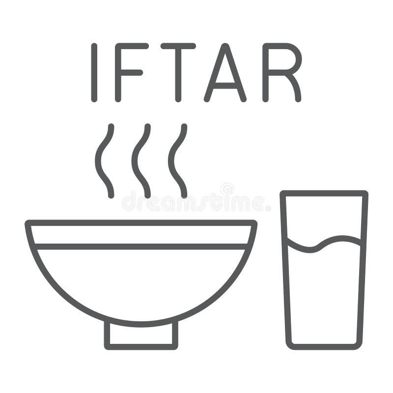 Pictogram van de Ramadan het iftar dunne lijn, voedsel en Arabisch, maaltijdteken, vectorafbeeldingen, een lineair patroon op een vector illustratie
