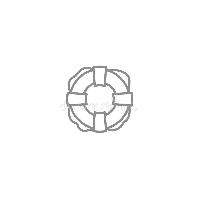 Pictogram van de reddingsboei het eenvoudige lijn Strand, seaship, redding en veilig symbool stock illustratie