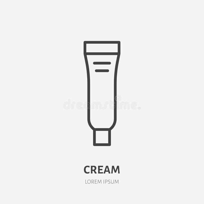 Pictogram van de room het vlakke lijn Het teken van de make-upschoonheidsverzorging, illustratie van huidvochtinbrengende crème i vector illustratie