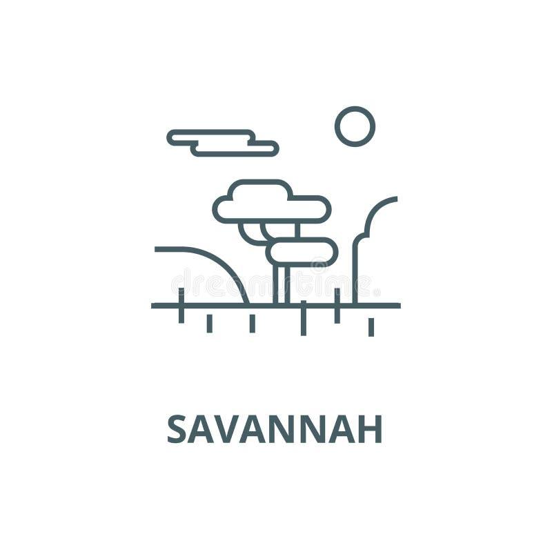 Pictogram van de savanne het vectorlijn, lineair concept, overzichtsteken, symbool stock illustratie