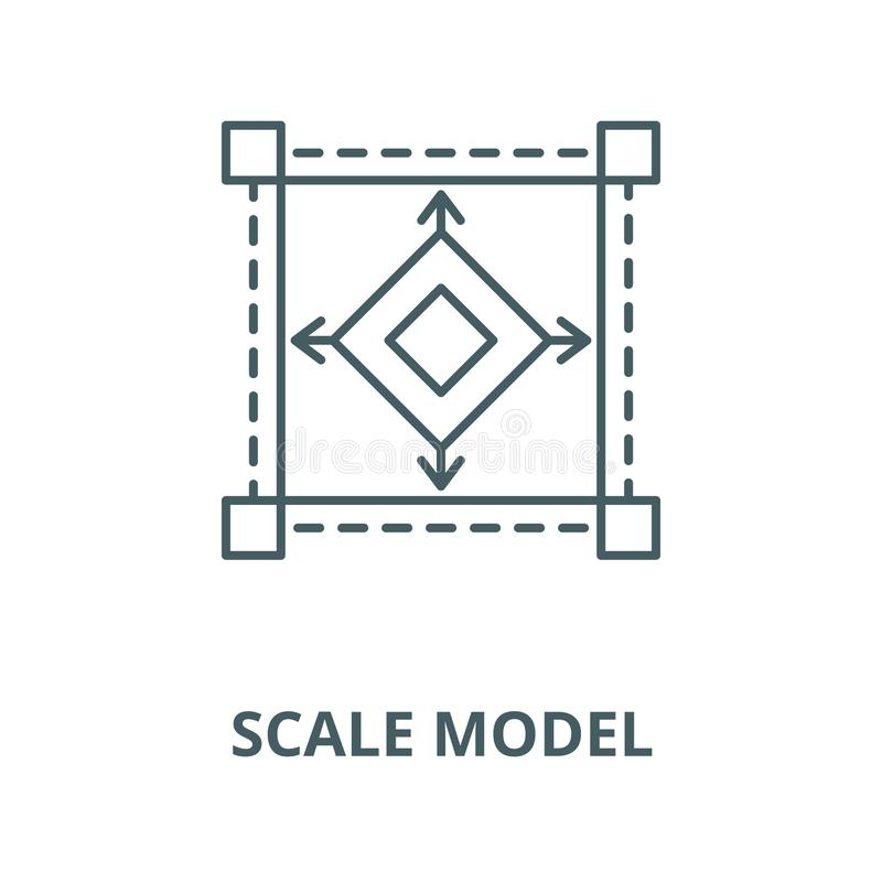 Pictogram van de schaal het model vectorlijn, lineair concept, overzichtsteken, symbool vector illustratie