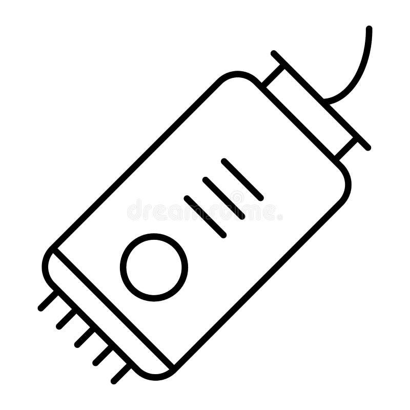 Pictogram van de scheerapparaat het dunne lijn Elektrische het scheren machineillustratie die op wit wordt geïsoleerd Haarclipper vector illustratie