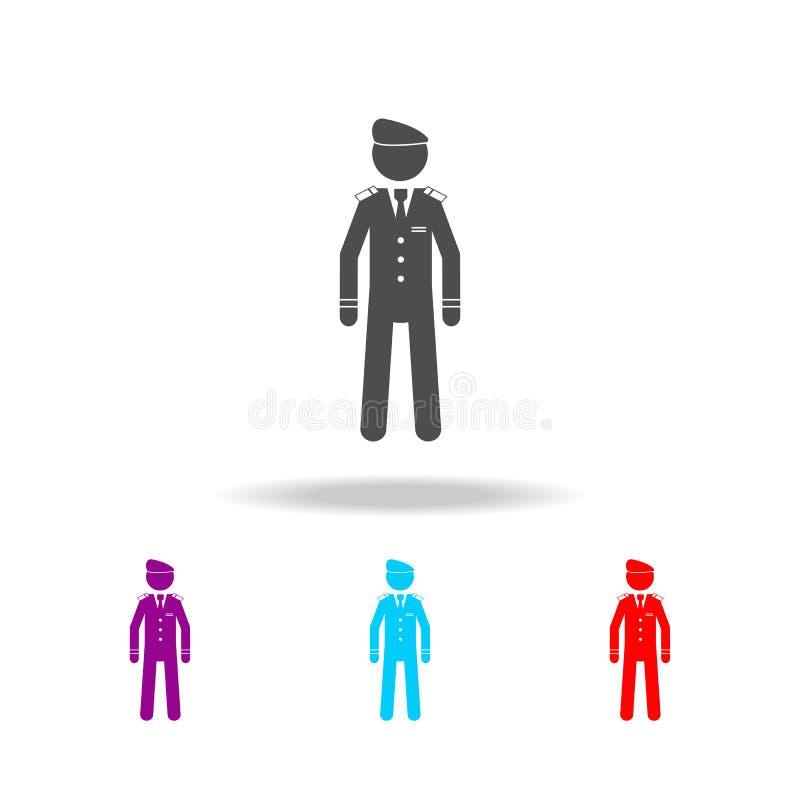 Pictogram van de silhouet het militaire baret Elementen van speciale krachten in multi gekleurde pictogrammen Grafisch het ontwer vector illustratie