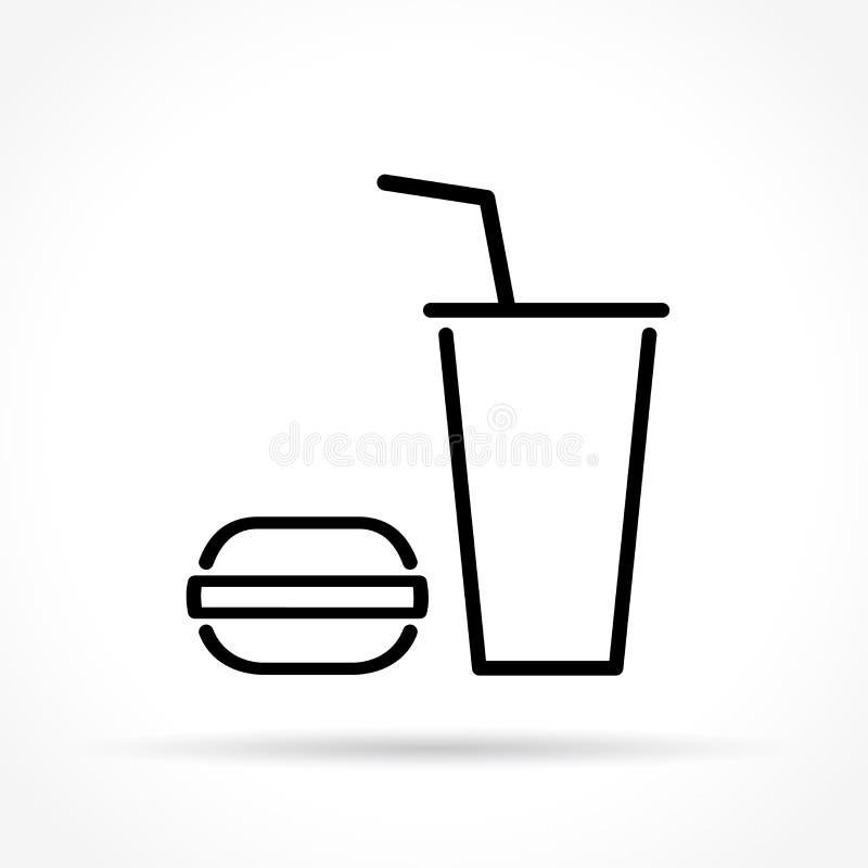 Pictogram van de snel voedsel het dunne lijn stock illustratie