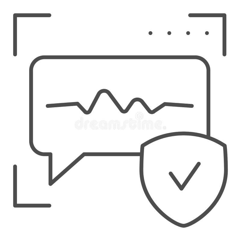 Pictogram van de spraakherkenning het dunne lijn Correcte identificatie vectordieillustratie op wit wordt geïsoleerd Stemauthenti vector illustratie