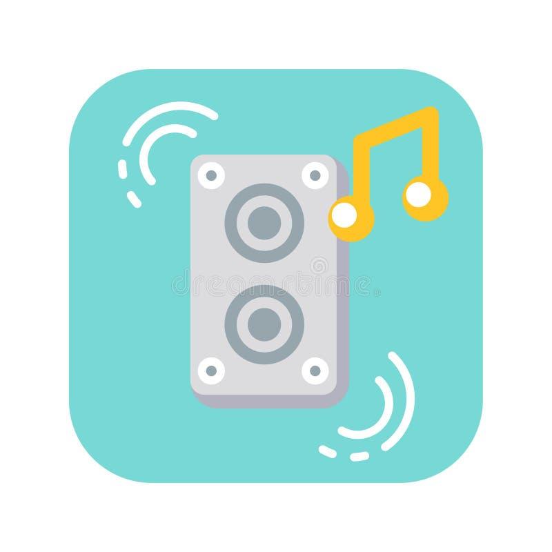 Pictogram van de de sprekers vlakke kleur van de muziekkolom het audio royalty-vrije illustratie
