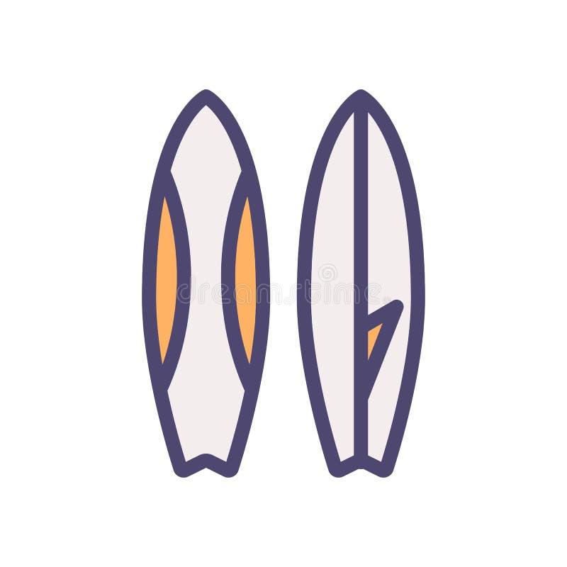 Pictogram van de surfplank het dunne lijn Het surfen materiaal vectorillustratie De zomer, strand, overzees, vakanties vector illustratie